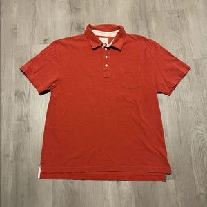 Billy Reid Short Sleeve Polo Shirt Red 100% Cotton
